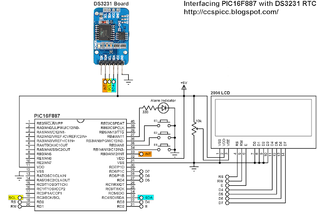 DS3231 RTCC with buttons, alarm functions and temperature monitor PIC16F887 circuit