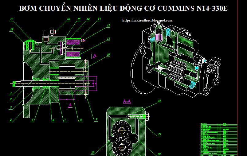Bản vẽ hệ thống nhiên liệu động cơ Cummins