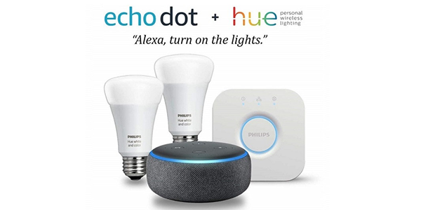 Get Amazon Echo Dot and Lighting Kit bundle 53% off