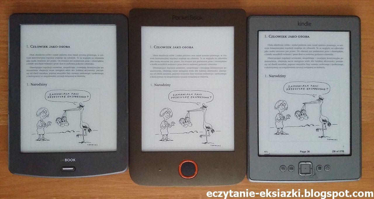 porównanie ekranów: PocketBook Basic Lux, Kindle Classic iInkBook Classic 2