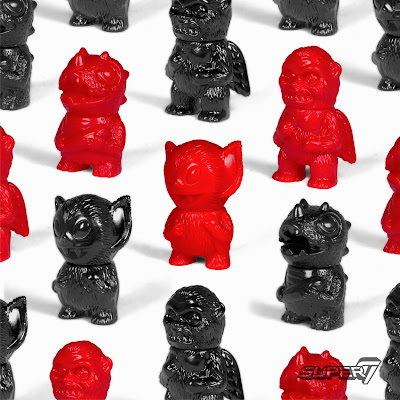 Red and Black Micro Wing Kong, Micro Bat Boy & Micro Caveman Dino Vinyl Figures by Super7