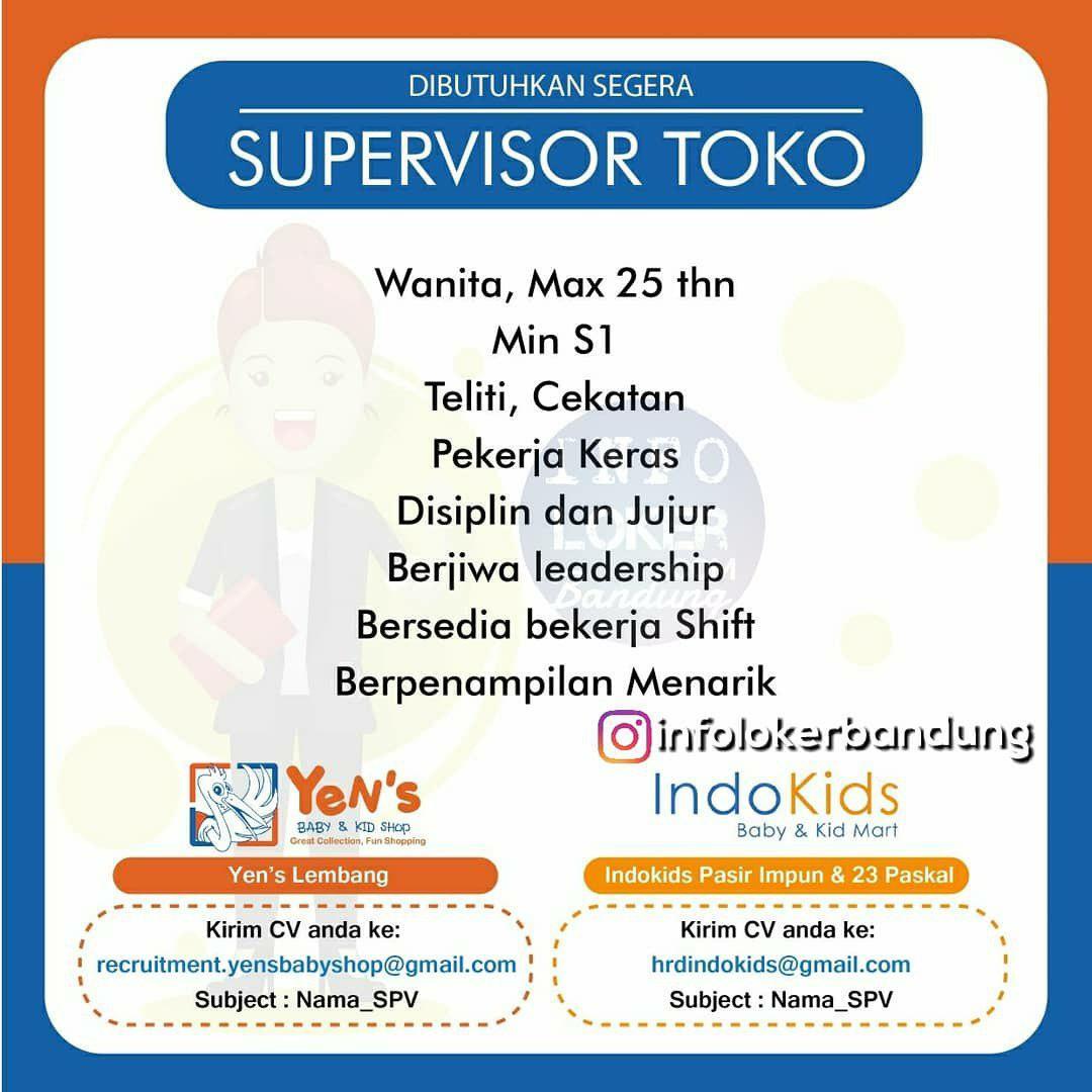 Lowongan Kerja Supervisor Toko Yens & Indokids Baby Kids Shop Bandung Agustus 2018