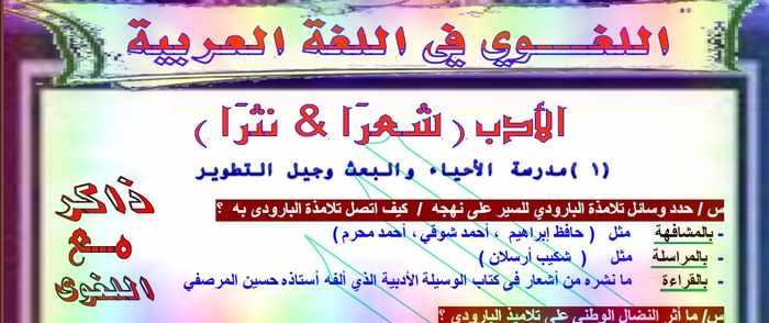 المراجعة الثانية لغة عربية ثانوية عامة 2019 للأستاذ عبد العزيز شاهين
