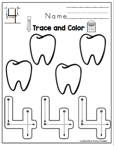 "Tracing Numbers 1-10 Dental Theme - ""No Prep"" ~ Preschool Printables"
