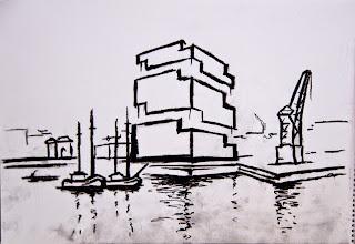 Graphic Eilandje, charcoal sketch of the MAS Antwerpen
