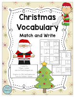 Christmas Vocabulary Match and Write,  www.JustTeachy.com