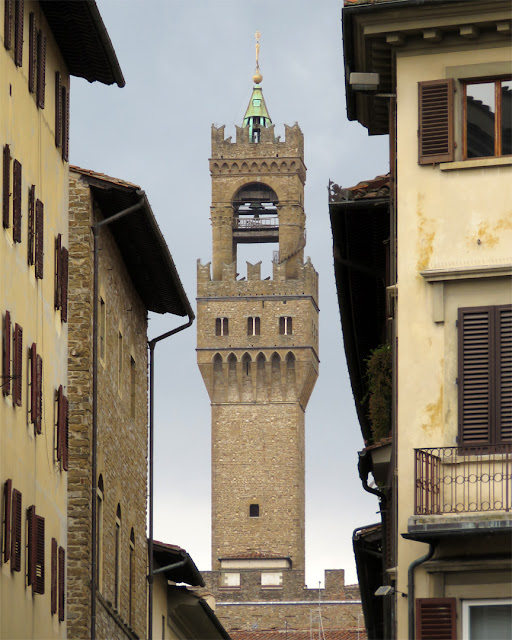 The tower of Palazzo Vecchio seen from Piazza Santa Croce, Piazza della Signoria, Florence