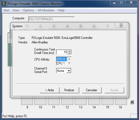 Finalizar la creación del PLC simulado RSLogix Emulate 5000