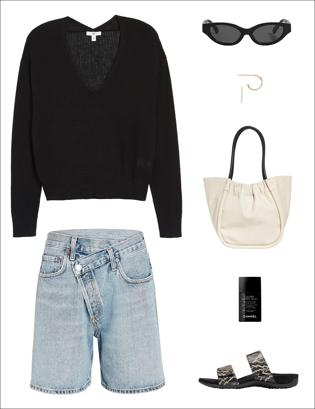 How to Wear Denim Shorts for Fall — Weekend-ready look with lightweight black sweater, black sunglasses, small gold hoop earrings, a statement tote bag, cool denim shorts and flat snakeskin sandals.