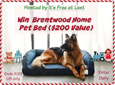 Enter the Brentwood Home Pet Bed Giveaway. Ends 11/23