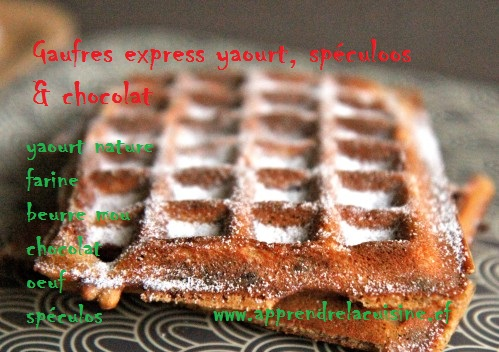 Gaufres express yaourt spéculoos et chocolat.