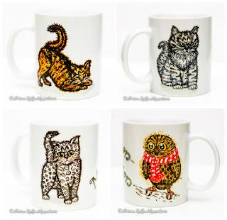 3 kassi ja 1 öökull tassidel