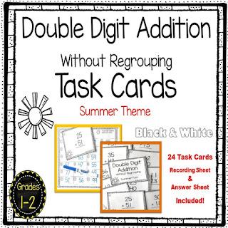 https://www.teacherspayteachers.com/Product/Double-Digit-Addition-Without-Regrouping-Summer-Math-Center-Task-Cards-3847481