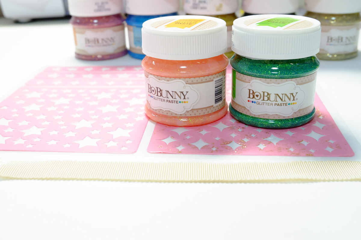 Next The Glitter Paste In Two Colors And Plain Ribbon Using The Stickable Stencils And Decoration