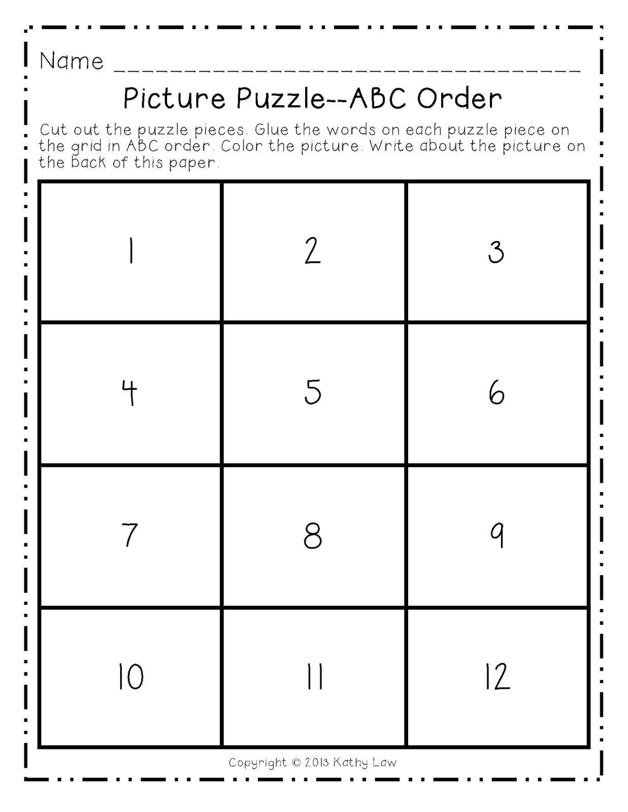 First Grade A La Carte December Picture Puzzles