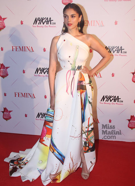 Aditi Rao Hydari in White One Shoulder Gown At The Nykaa Femina Beauty Awards 2016