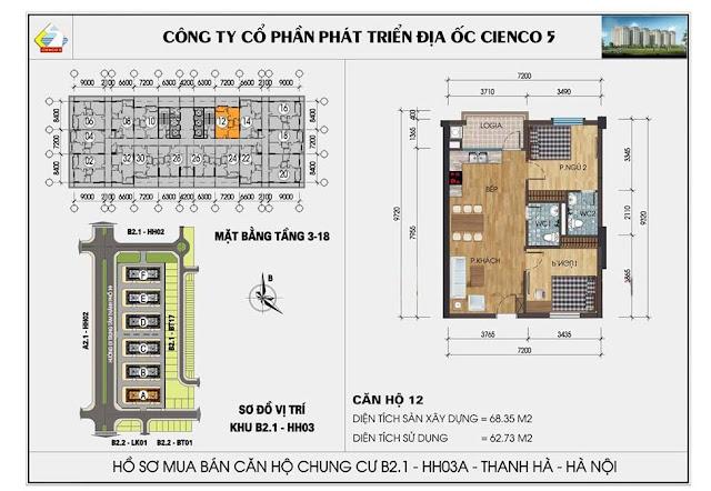 Sơ đồ thiết kế chi tiết căn hộ 12 chung cư B2.1 HH03 Thanh Hà