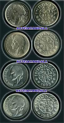 UANG KOIN 50 SEN TAHUN 1952, 1955 dan 1957