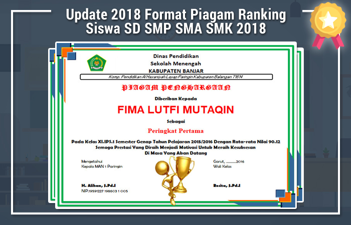 Update Kamis 10 Mei 2018 Format Piagam Ranking Siswa SD 2018