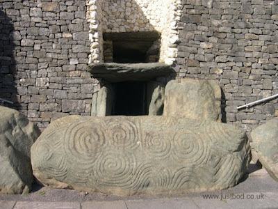 Newgrange entrance kerbstone with intricate spirals