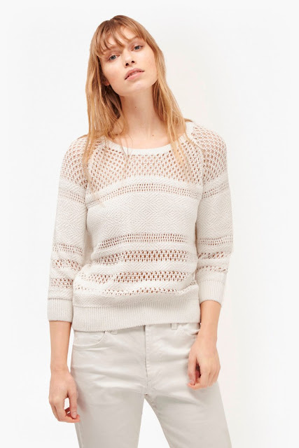 french connection white crochet jumper, white crochet stripe jumper, white knit stripe jumper,