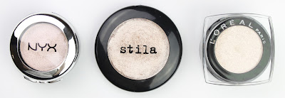 NYX Prisimatic Girl Talk Stila Kitten L'Oreal Infallible La Couleur Ultra Concentrated Colour Eyeshadow in 002 Hourglass Beige review swatch inner corner highlight comparison