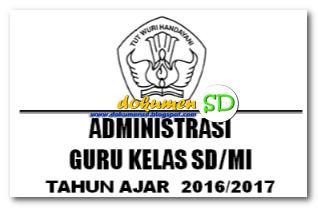 Download Administrasi Guru Kelas SD/MI Lengkap Tahun Ajar 2016/2017