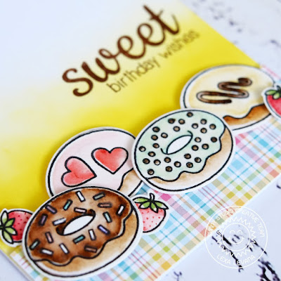 Sunny Studio Stamps: Sweet Shoppe Sweet Birthday Wishes Donuts Card by Lexa Levana.