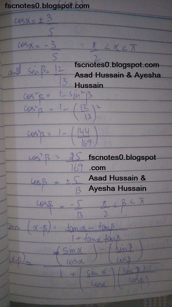 FSc ICS FA Notes Math Part 1 Chapter 10 Trigonometric Identities Exercise 10.2 Question 9 Written by Asad Hussain & Ayesha Hussain 10