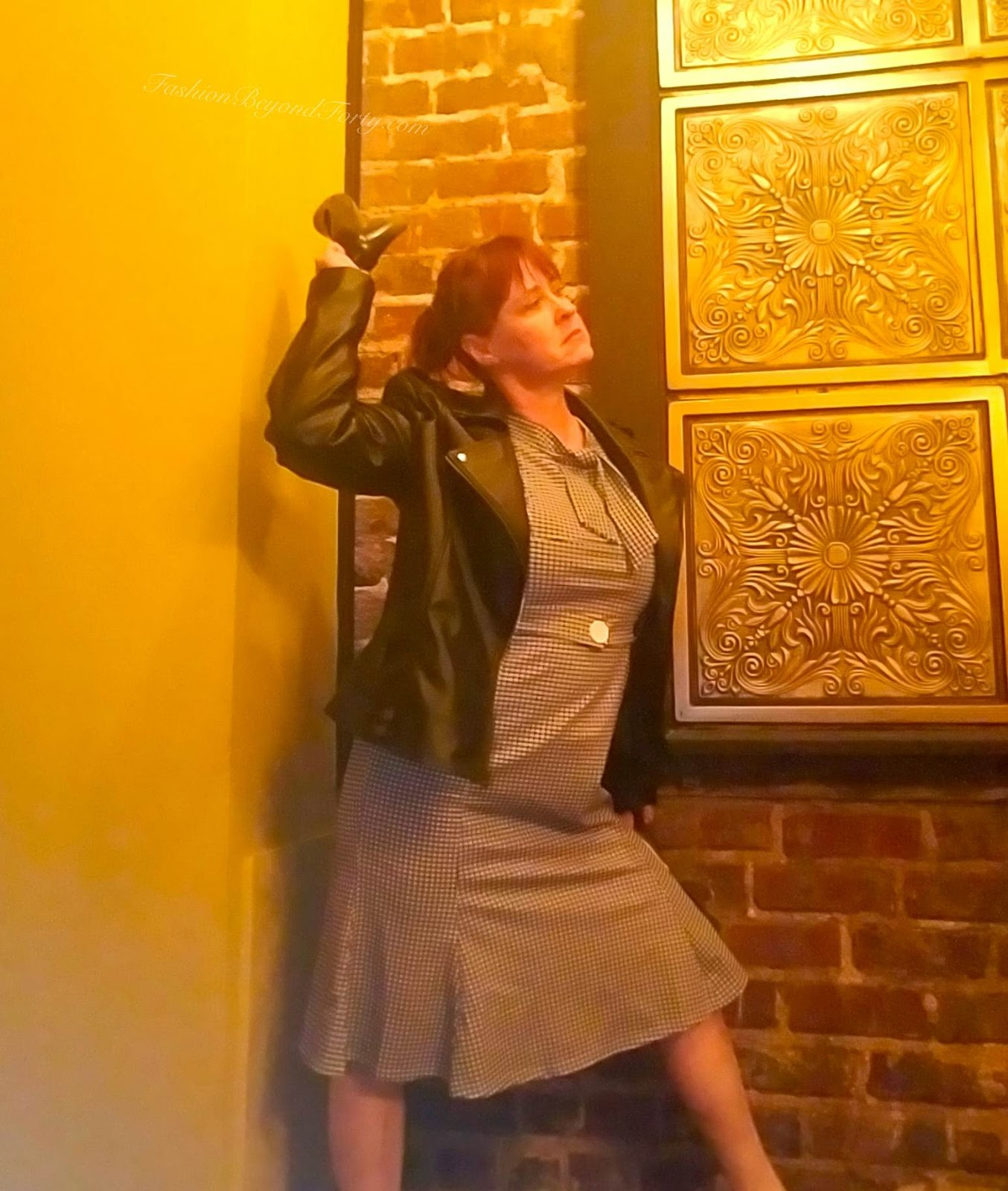 My Alter Ego Tiffany, The Girl In The James&Co Vegan Leather Moto Jacket