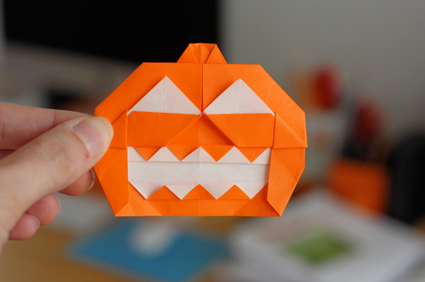 Origami jack-o-lantern | How About Orange
