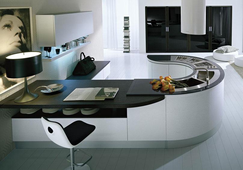 Las suaves formas curvas en las cocinas  Cocinas con estilo