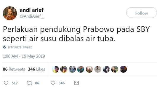 Andi Arief: Perlakuan Pendukung Prabowo Pada SBY Seperti Air Susu Dibalas Air Tuba
