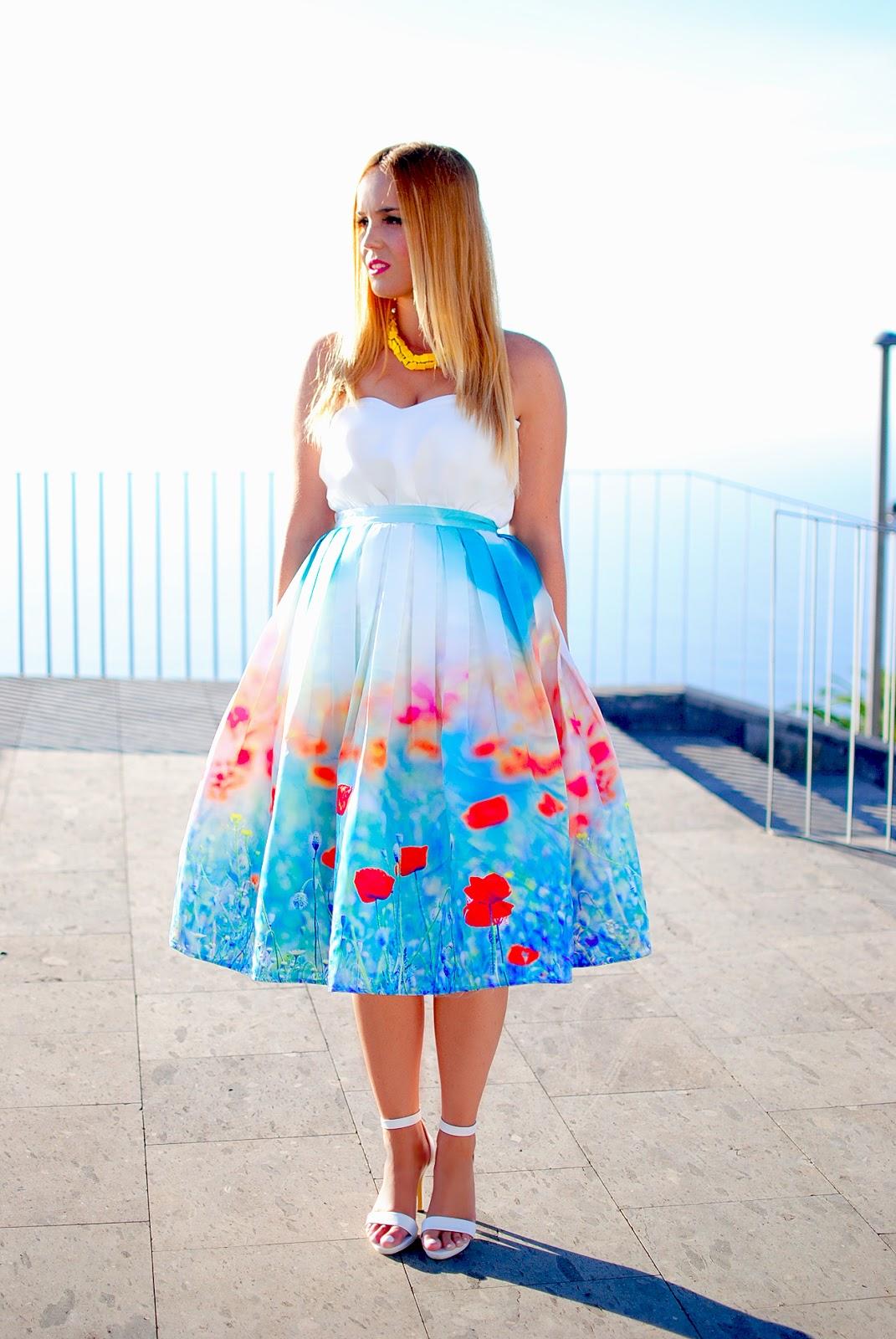 nery hdez, chicwish , midi skirt , tulips print, estampado tulipanes, falda midi