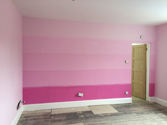Pink ombre painted wall