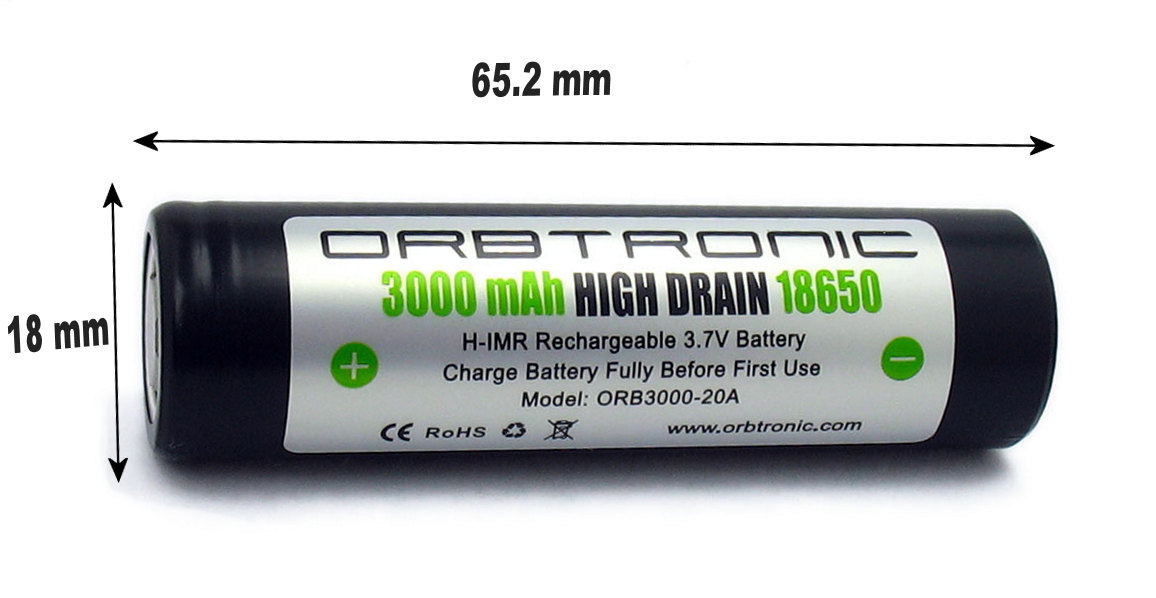 18650 Battery Review, Test, Specs 2018: 18650 Battery size