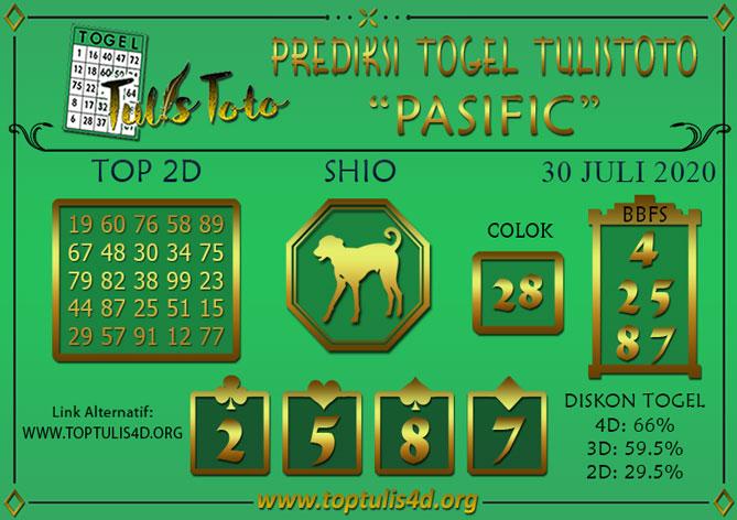 Prediksi Togel PASIFIC TULISTOTO 30 JULI 2020