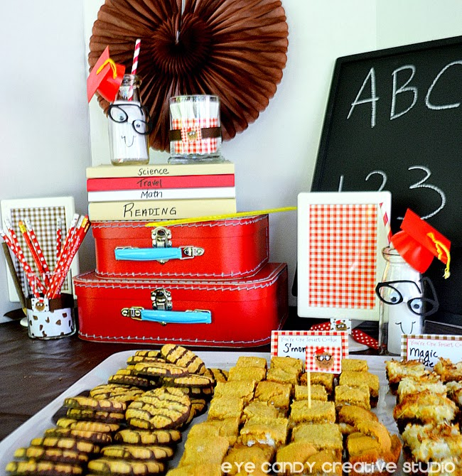 cookie bar, nerd glasses, chalkboard, suitcase props, school party