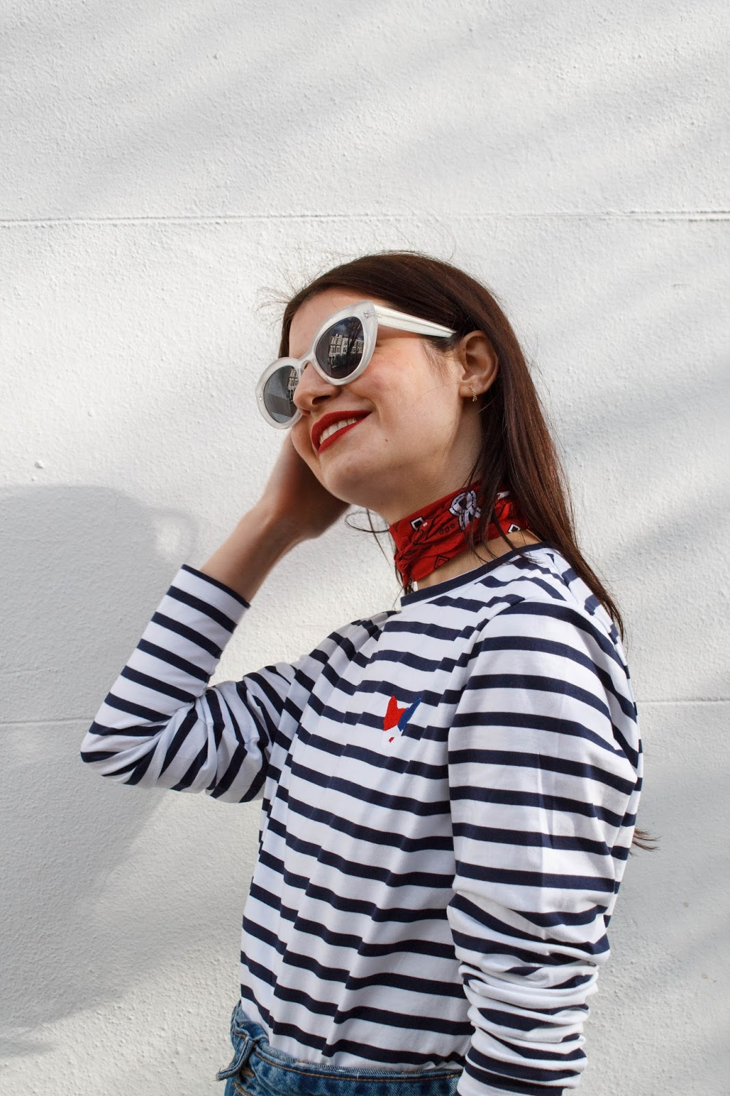 fashion blogger, london blogger, microinfluencer, valentino, valentino shoes, valentino tango pumps, etre cecile, accessorize earrings, Z for accessorize, bandana, denim skirt, red lips, A J Morgan