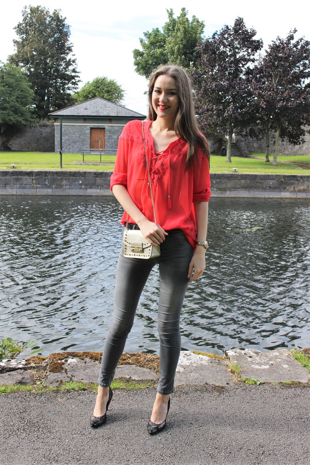 red and grey outfit