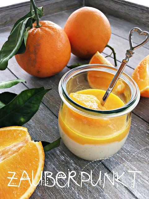 winterliches Panna cotta, Orangen, Orangensauce