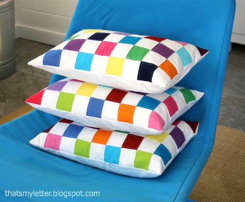 diy colorblock lumber pillows