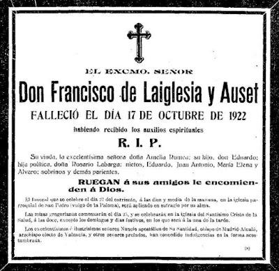 Esquela del fallecimiento de Francisco de Laiglesia