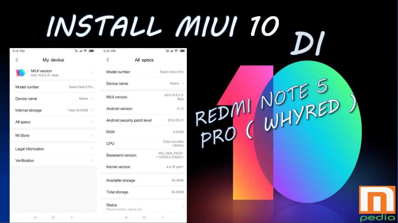 MIUI 10, Begini Cara Install di Redmi Note 5 PRO [ WHYRED ]