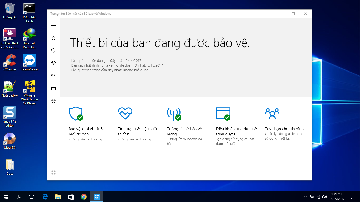 Hướng dẫn gỡ bỏ Windows Defender trong Windows 10 version 1703