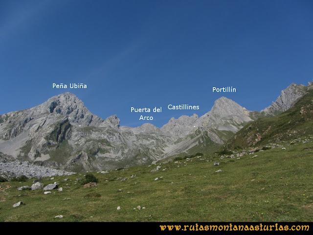 Ruta Tuiza - Portillín - Fontanes: Vista desde las inmediaciones del refugio de Peña Ubiña, Puerta del Arco, Castillines y Portillín Oriental