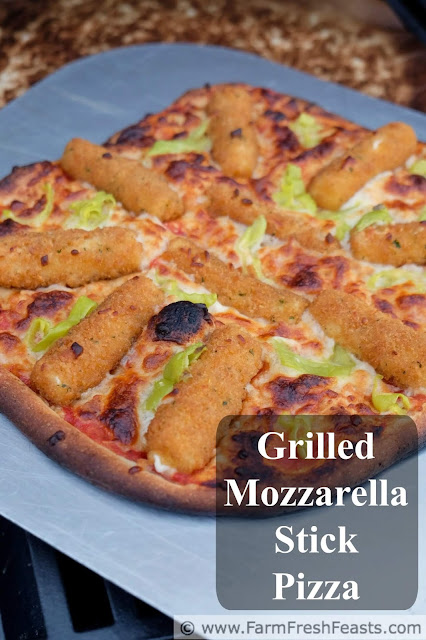 This pizza has mozzarella sticks and pickled peppers for a gooey cheesy pie with a bit of a kick. Throw a few handy toppings on a pizza, then throw it on the grill for a fast, easy, and cheesy meal.