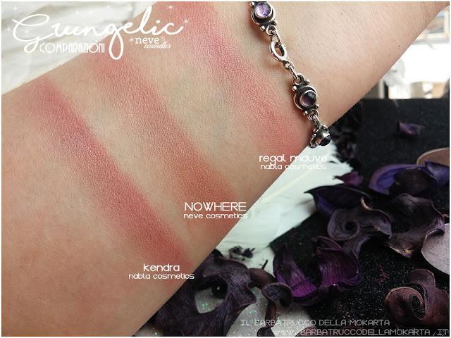 NOWHERE comparazioni Blush  Grungelic collection Neve cosmetics  recensione, pareri, makeup, consigli, comparazioni