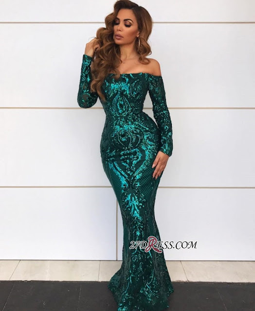 Gorgeous Off-the-Shoulder Long Sleeve Evening Gowns | Mermaid Sequin 2019 Prom Dress