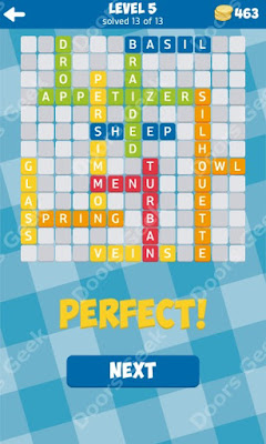 Cheats, Solutions for Level 5 in 13 Word Connect by Second Gear Games